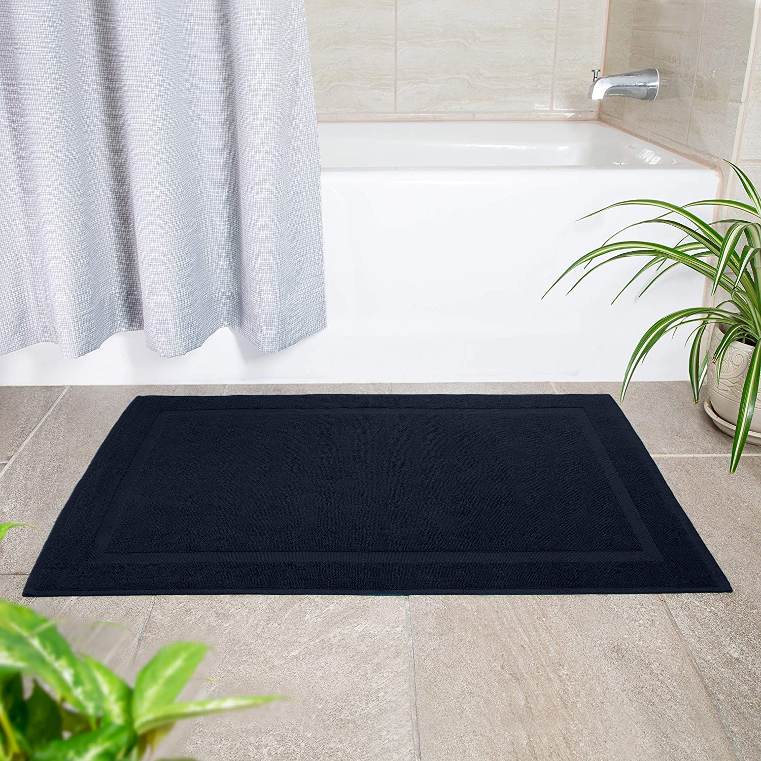 100/% Ringspun Cotton Tub Mat 21x34 2 Pack Bath Mat Black Cotton Craft Oversized 21x34 Heavy Weight 1000 Grams Soft Underfoot 2 Ply Construction Highly Absorbent Easy Care Machine Wash