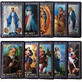 Catholic SET of 10 Holy Prayer Cards - New Plastic material! St Benedict St Jude St Michael St Christopher Holy Family L…