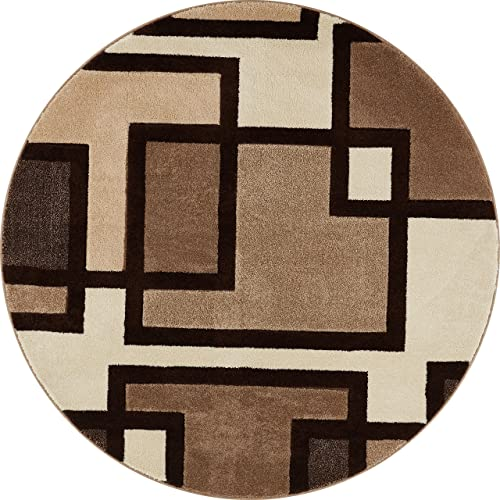 Well Woven Cream Imagination Squares Modern Geometric 5 3 Round Area Rug