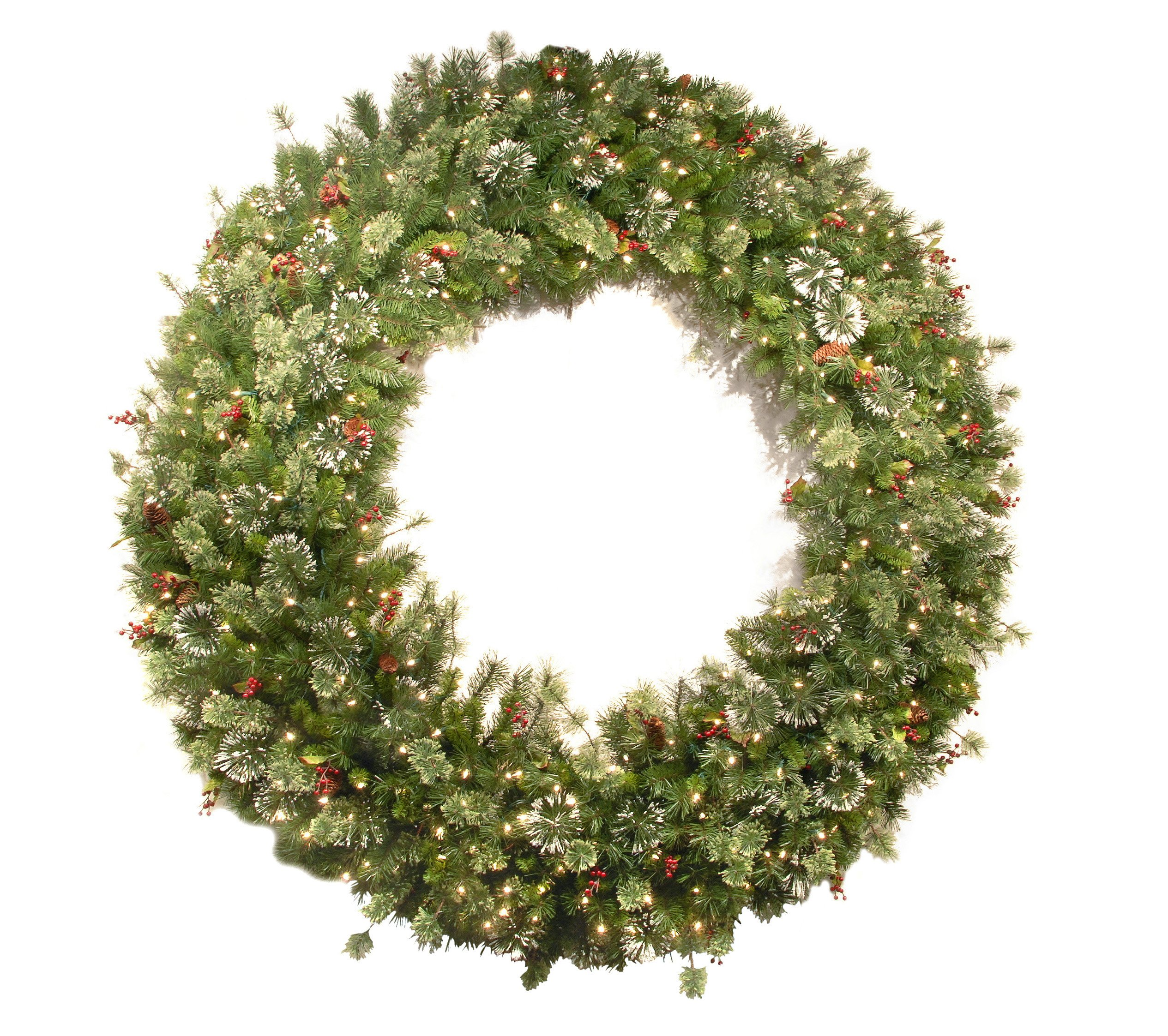 National Tree 72 Inch Wintry Pine Wreath with Cones, Red Berries, Snowflakes and 400 Clear Lights (WP1-300-72W)