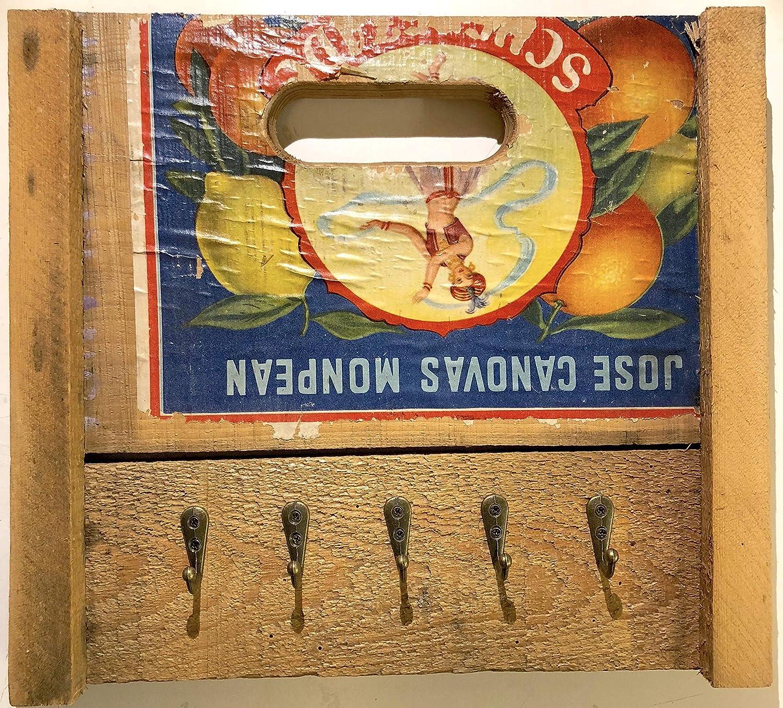 Schönes Schlüsselbrett Schlüsselboard aus Altholz Obstkiste Fruchtkiste aus Holz.
