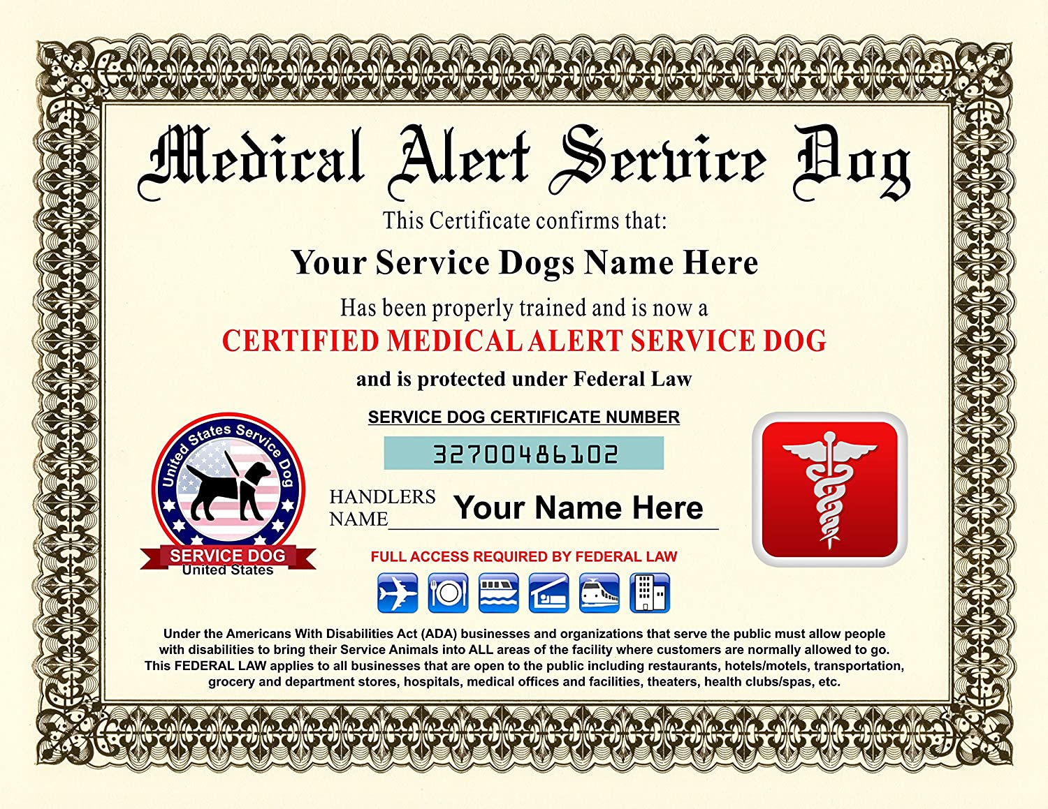 Amazon Innovative Id Cards Medical Alert Service Dog