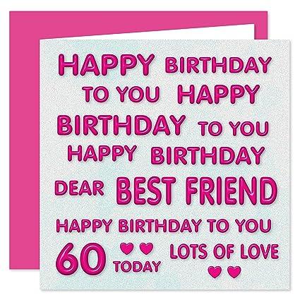 Tarjeta de felicitación de 60 cumpleaños, diseño con texto ...