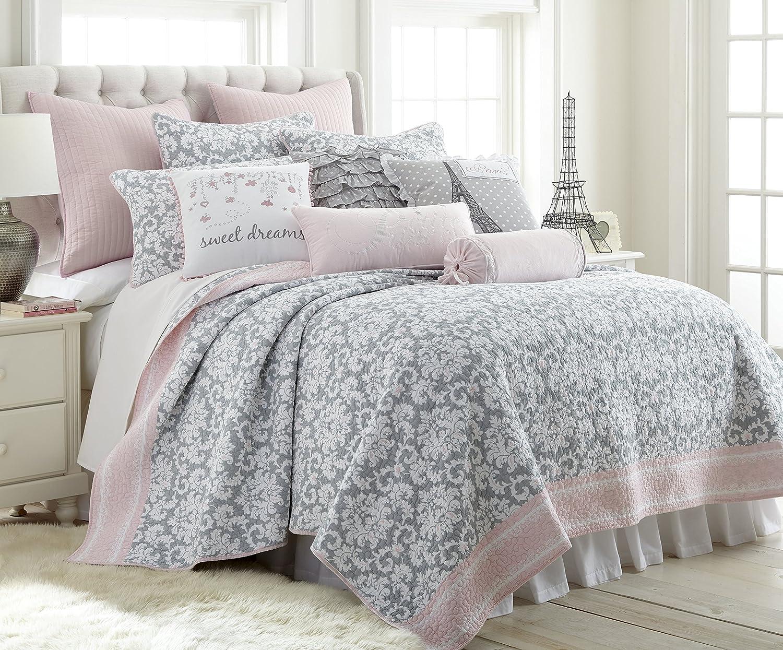 Levtex Margaux Full/Queen Cotton Quilt Set Grey Damask, Pink