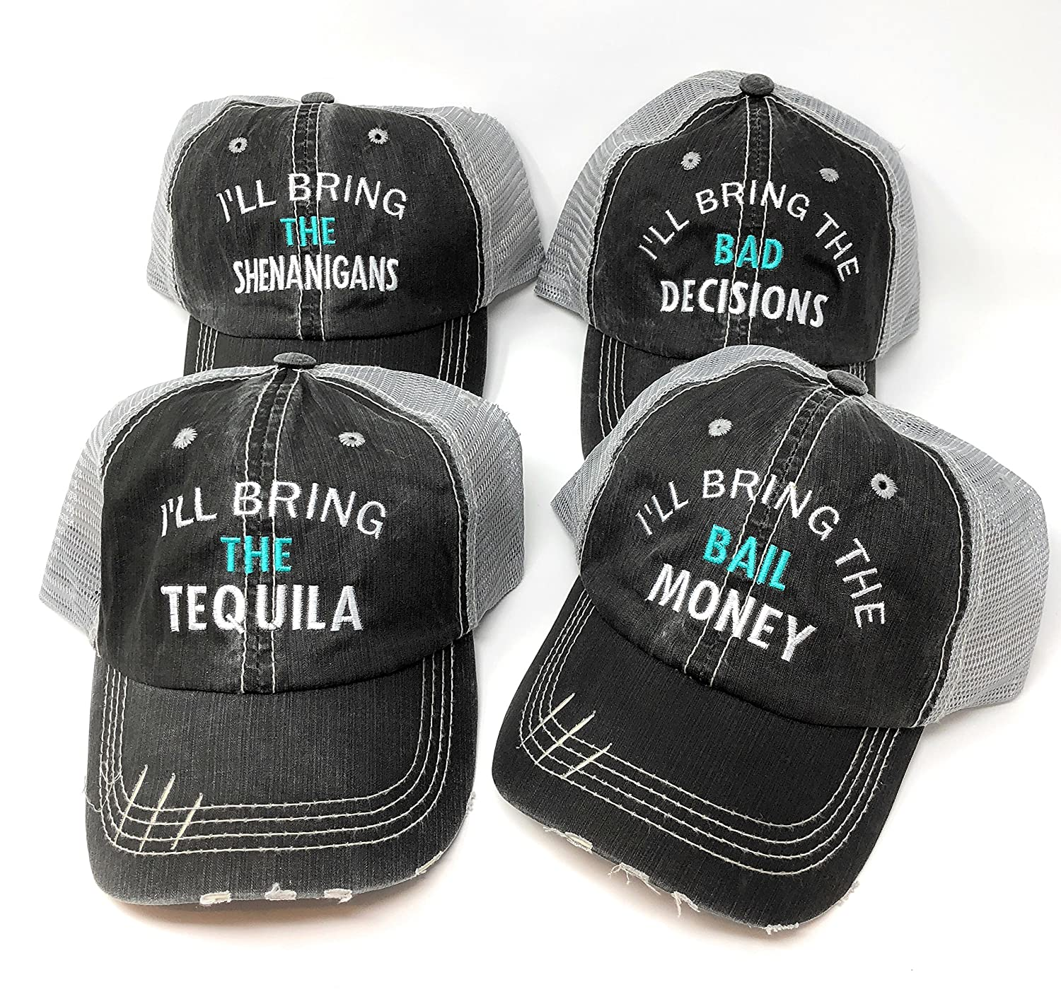 Mary's Monograms I'll Bring The Alcohol I'll Bring The Bad Decisions Hats BK Distressed Trucker Hats Black - Pick Your Sayings