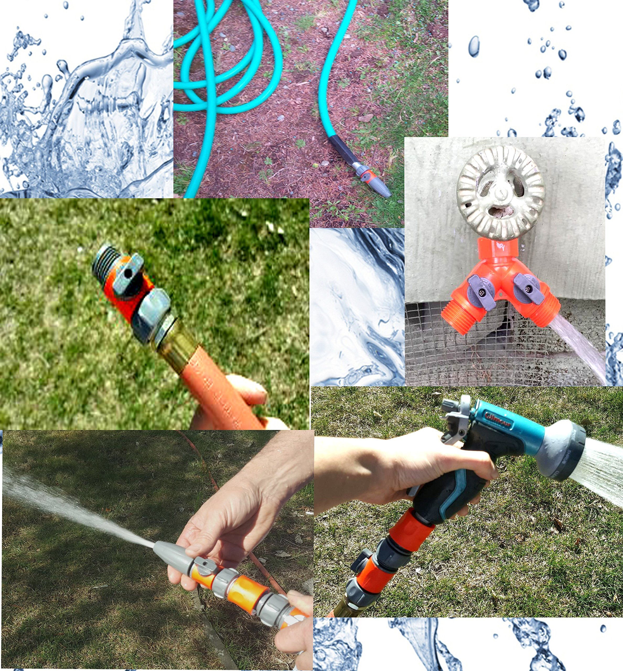 RAAYA HOSE SPLITTER, Quick Connectors Set Including: Garden Hose Nozzle- with Shut Off Valve, 20 Rubber Washers, Useful for: Outdoor Soaker, Sprinkler, Drip Irrigation Systems – Maximum Satisfaction