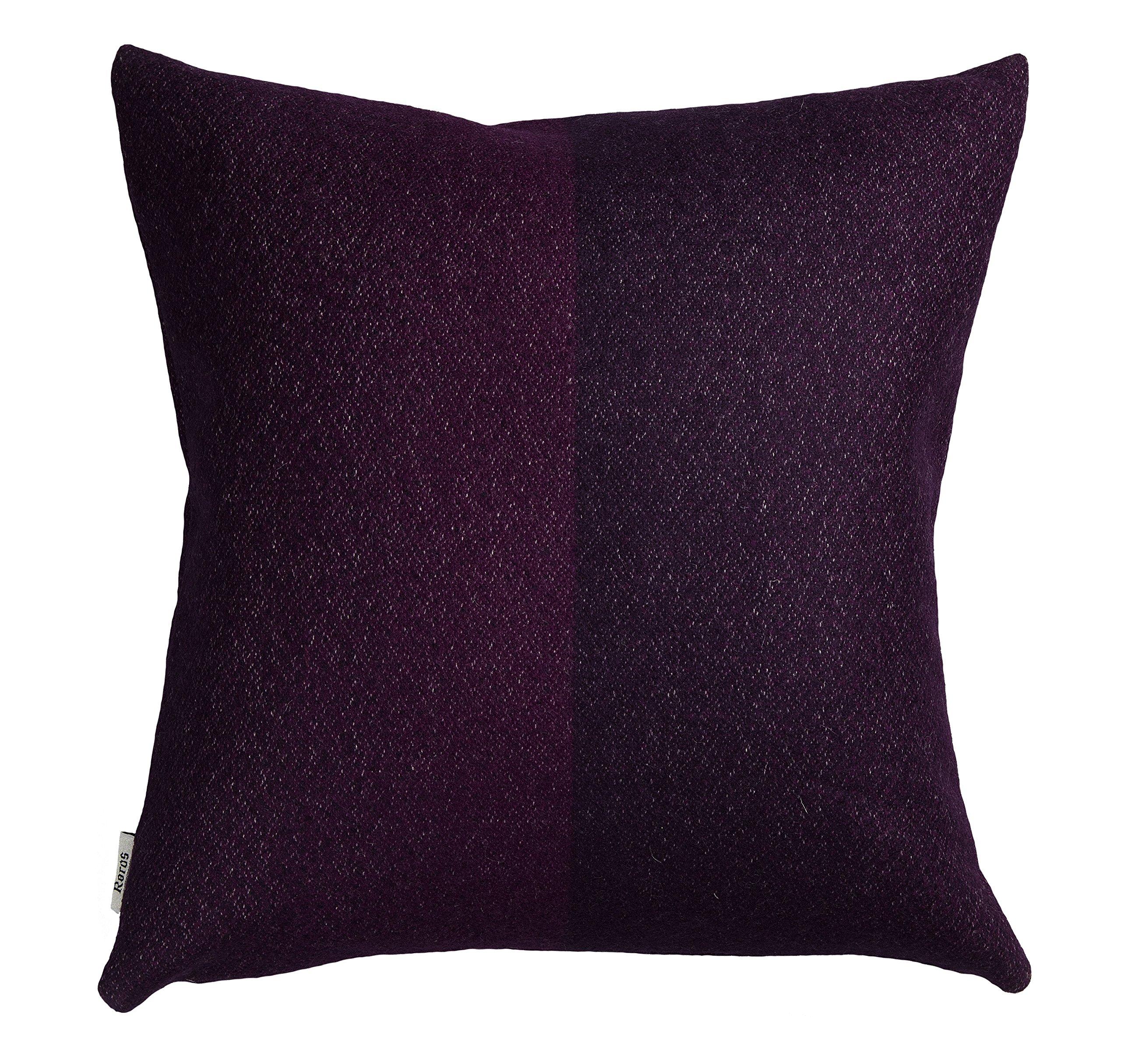 Roros Tweed 100% Norwegian Wool Reversible Designer Pillow Cushion (Berg in Violet)