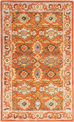 Safavieh Heritage Collection HG734D Handcrafted Traditional Oriental Rust and Beige Wool Area Rug 3' x 5'
