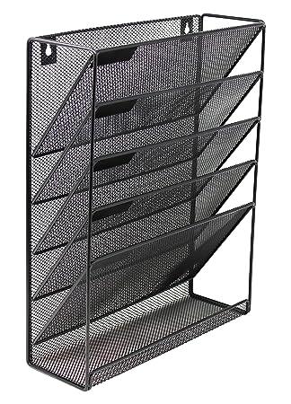 Malla de pared para colgar organizador de archivos y documentos - Revistero vertical con 5 compartimentos y organizador de correo/bandeja - negro: ...