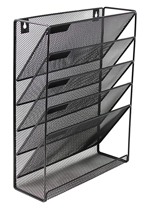 Mesh Wall Mounted Hanging Document & File Organizer - 5 Compartment Vertical  Magazine Rack & Mail
