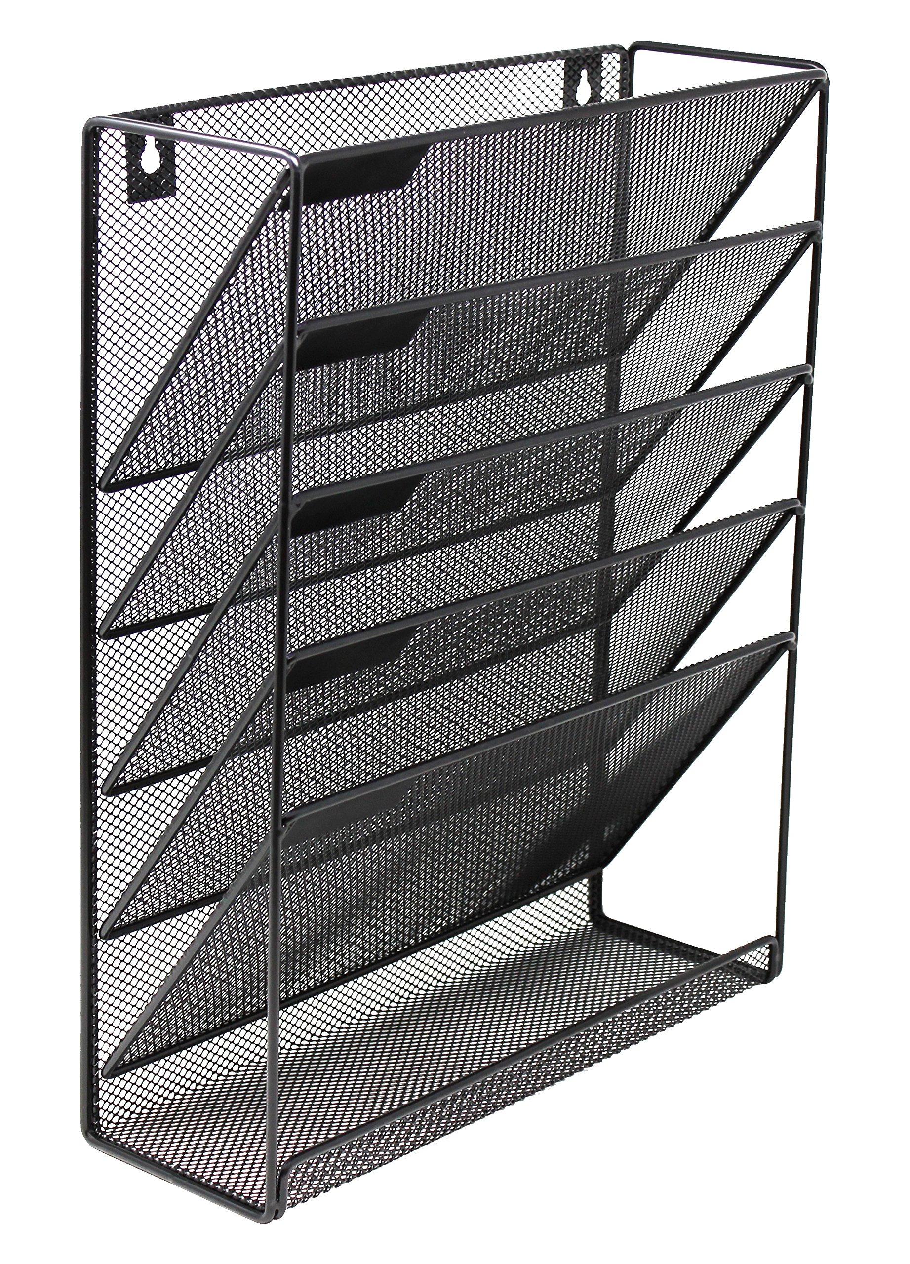 Mesh Wall Mounted Hanging Document & File Organizer - 5 Compartment Vertical Magazine Rack & Mail Sorter/Holder Tray - Black…