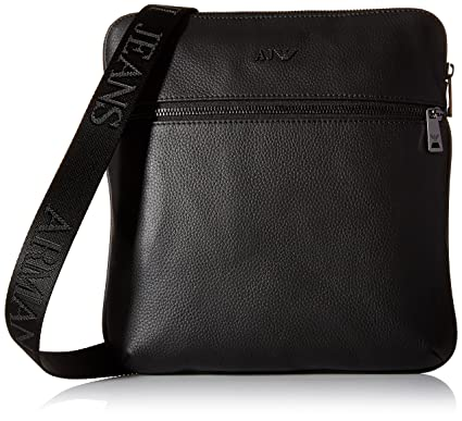 51edf471e1 Armani Jeans messenger bag man leather black  Amazon.co.uk  Luggage