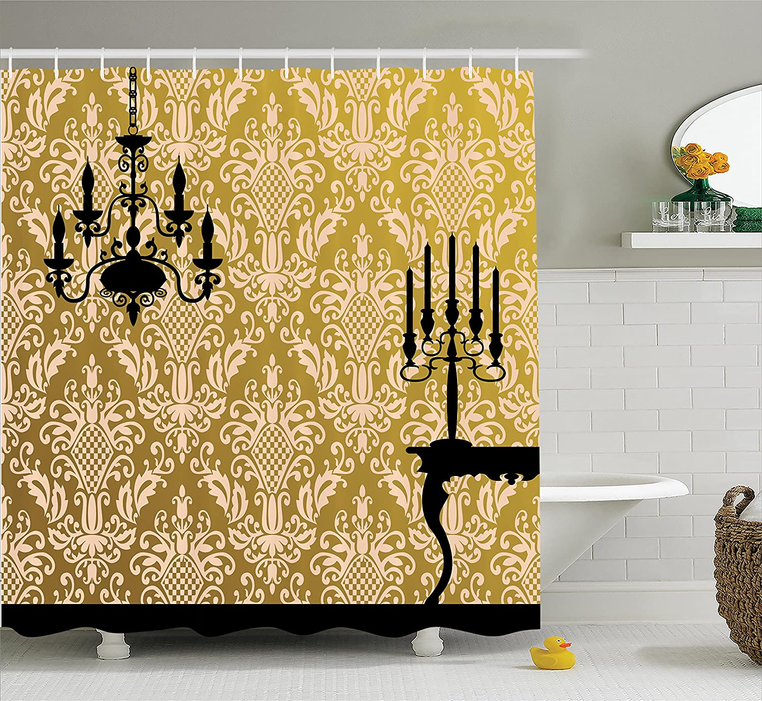 Amazon.com: Ambesonne Damask Shower Curtain, English Country House ...