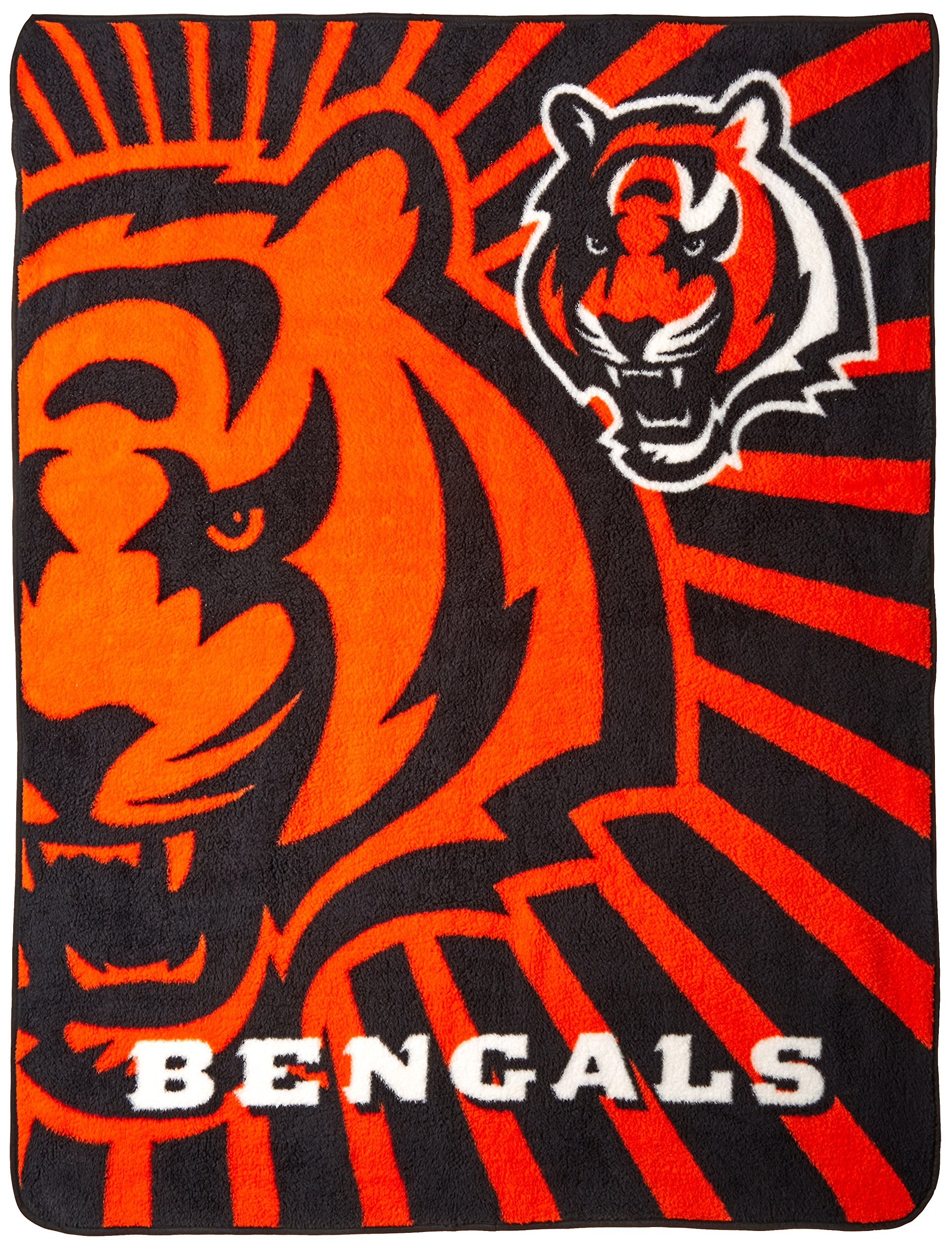Officially Licensed NFL Cincinnati Bengals Strobe Sherpa on Sherpa Throw Blanket, 50'' x 60'' by The Northwest Company