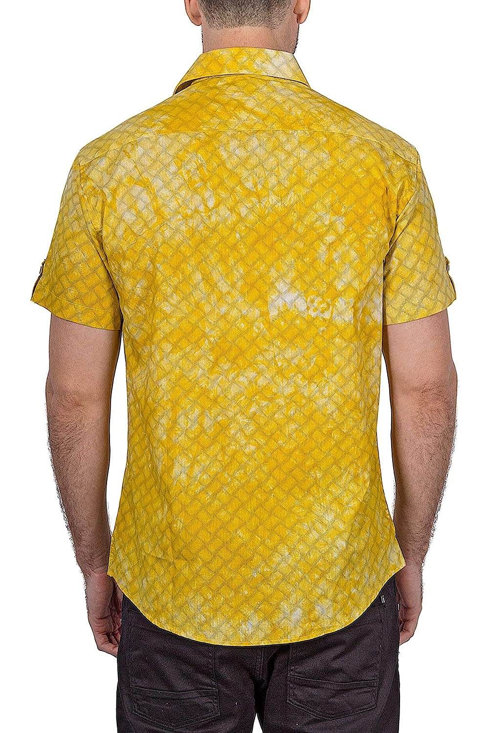 Bespoke Moda Bespoke 182103 Mens Yellow Button Up Short Sleeve