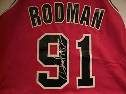 buy popular ca0b5 bc33d Dennis Rodman Autographed/Signed Chicago Bulls Jersey Size ...
