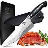 ZELITE Infinity Chef Knife 8 inch >> Executive-Plus Master Chefs Edition >> Best Quality Japanese AUS10 Super Steel 45 Layer Damascus, Storm-X Finish, B/G G10 Handle, Ultra-Deep 56mm Chef's Blade