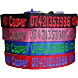 Personalised Name & Phone Number Strong Nylon Dog Collars. Pink, Blue, Red, Black. FREE Embroidered Personalisation. ID Collar. (18 Inch (M))