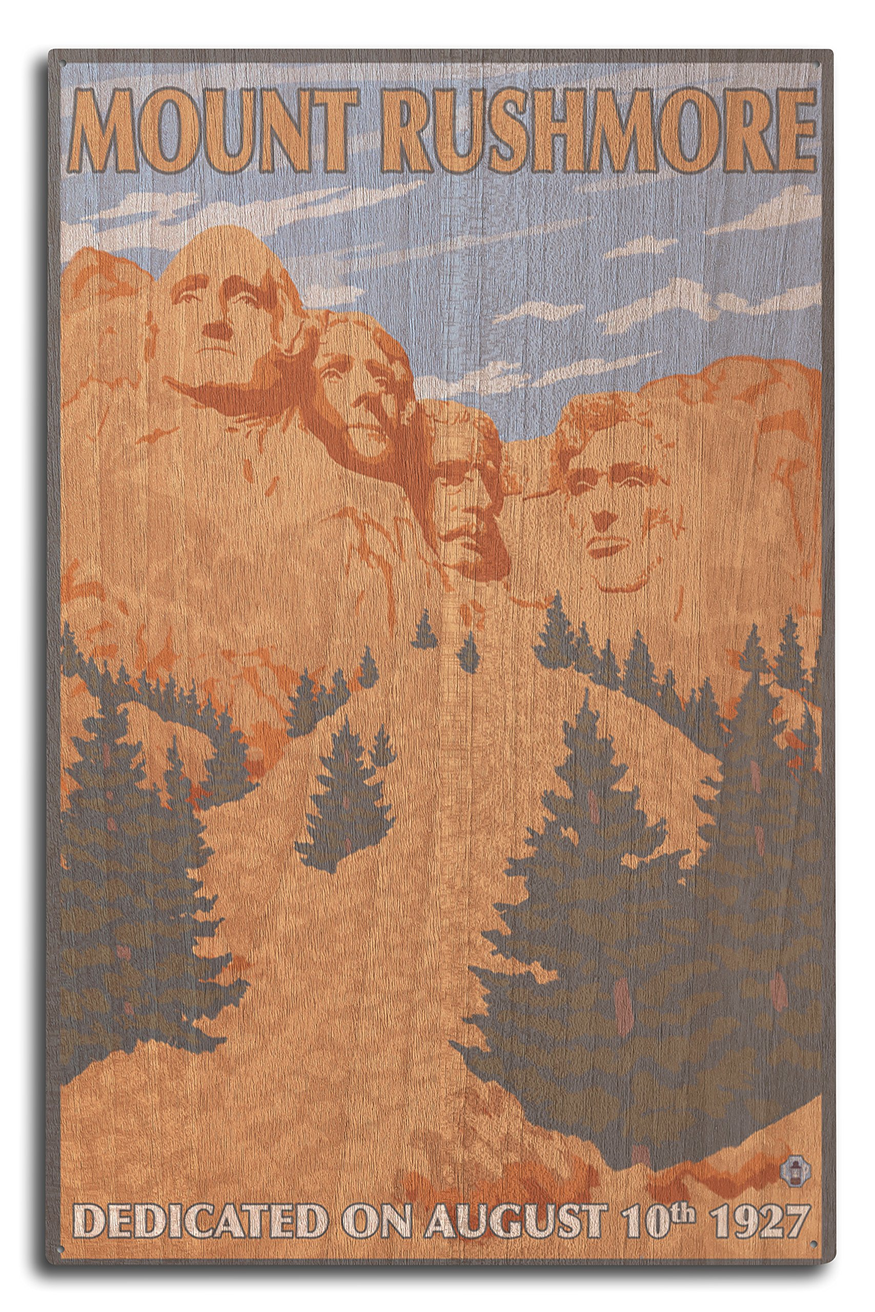 Mt Rushmore National Park, South Dakota (10x15 Wood Wall Sign, Wall Decor Ready to Hang)