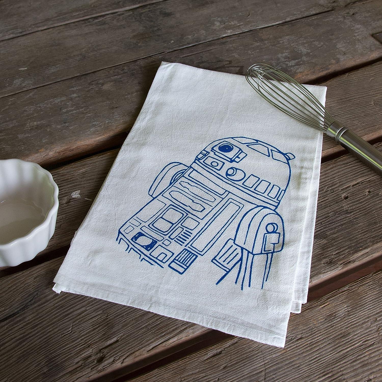 Amazon.com: Droid Screen Printed Tea Towel, flour sack towel R2D2 ...