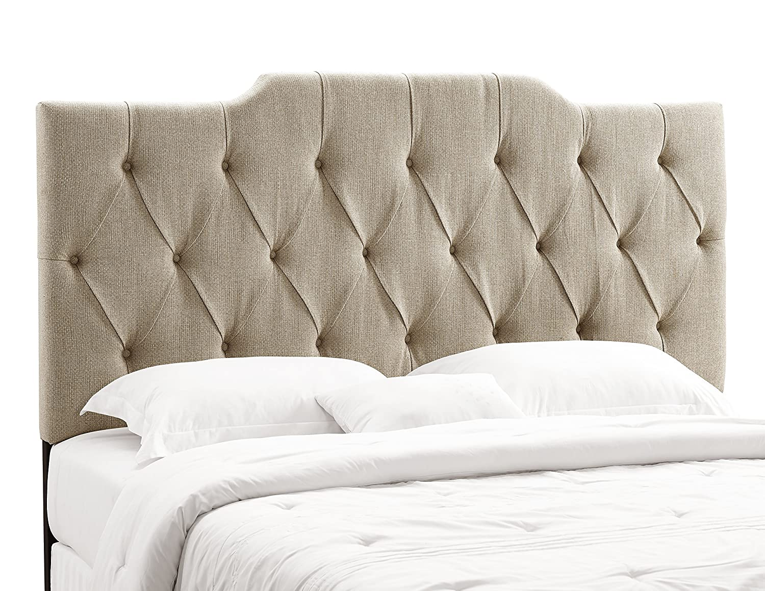 bonded headboard queen fabric noted upholstered leather com black charming tufted size amazon linen