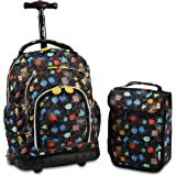 J World Lollipop Kids Rolling Backpack & Lunch Bag Set for Elementary School. Carry-On Suitcase with Wheels
