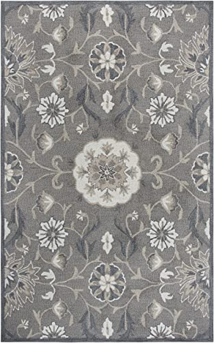 Rizzy Home Resonant Collection Wool Area Rug, 9 x 12 , Dark Taupe Taupe Gray Dark Gray Floral