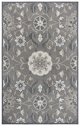 Rizzy Home Resonant Collection Wool Area Rug, 5 x 8 , Dark Taupe Taupe Gray Dark Gray Floral