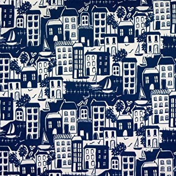 Blue Nautical Seaside Scene Oilcloth Wipe Clean Tablecloth Rectangle Round Sizes
