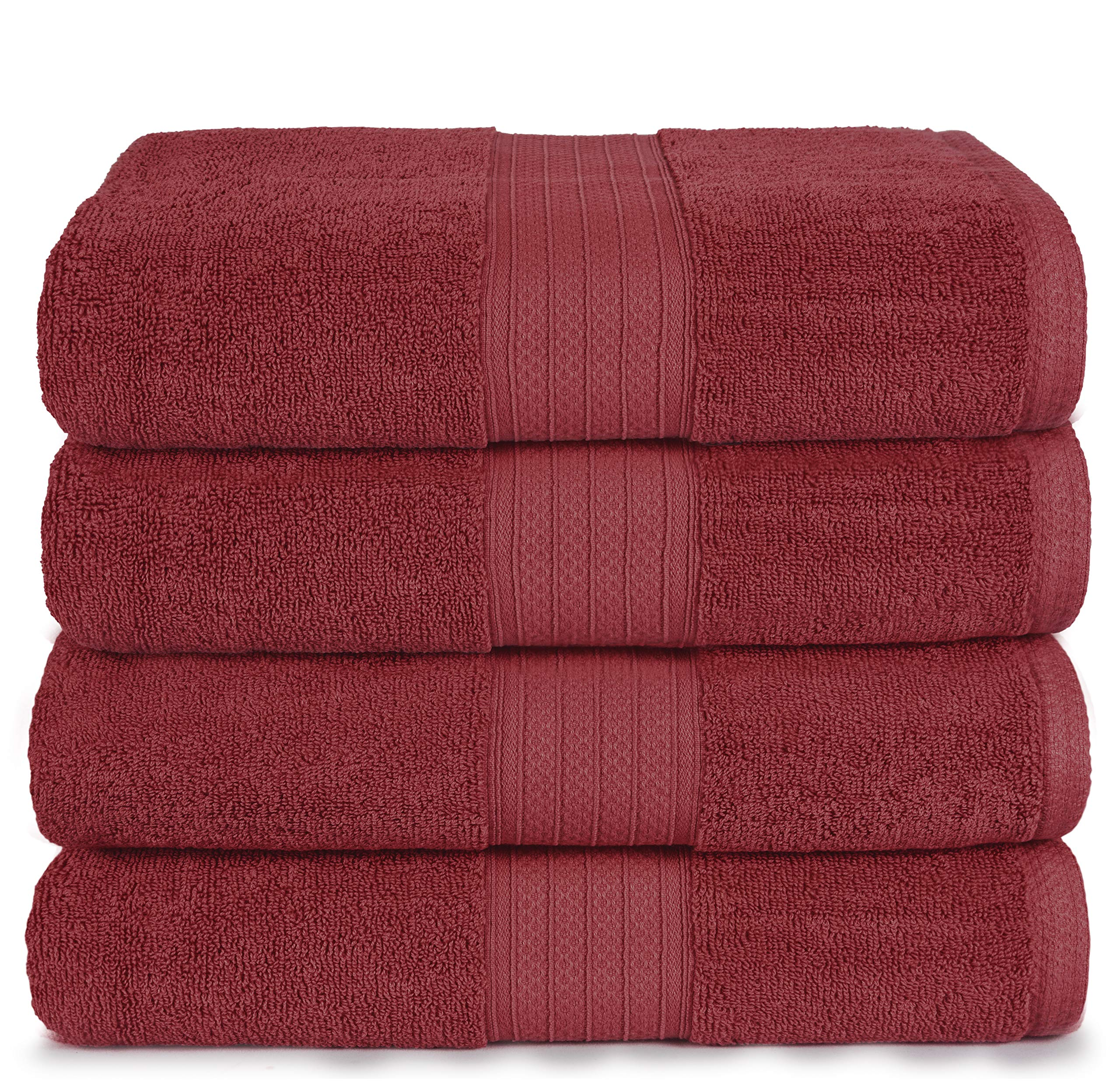 GLAMBURG 4 Pack Bath Towel Set, 100% Combed Cotton Large Bath Towels, Gym Towels 27''x54'' - 600 GSM Luxury Hotel Quality Ultra Soft Super Absorbent Towels for Bathroom - Burgundy by GLAMBURG