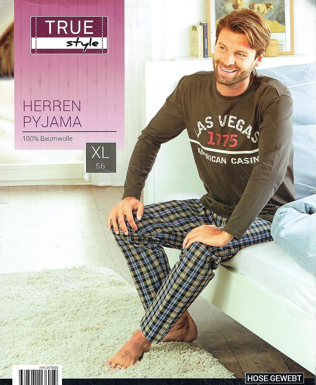 Herren Schlafanzug Pyjama 100/% Baumwolle Nachtw/äsche Las Vegas