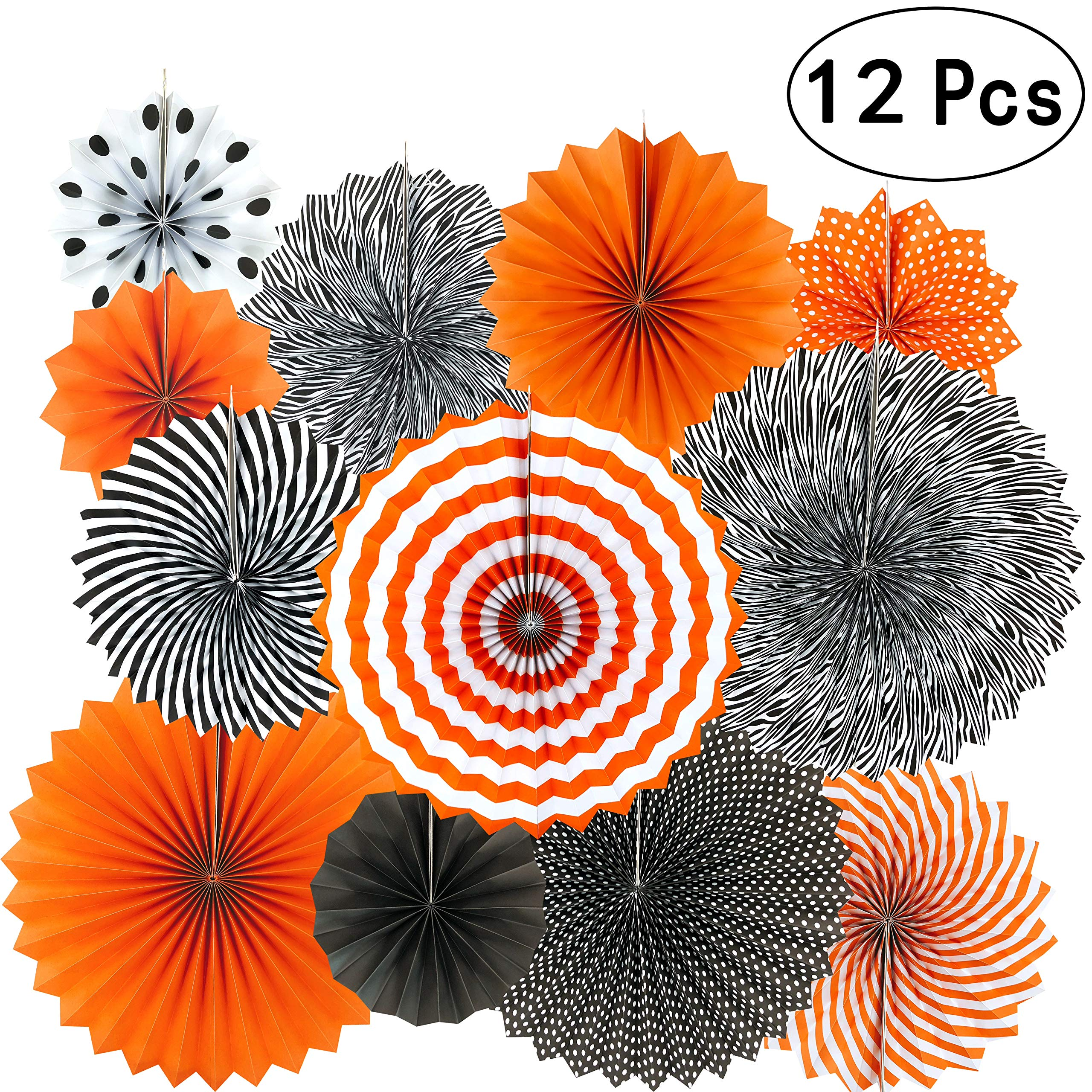 Black Orange Party Hanging Paper Fans Party Ceiling Hangings Halloween Baby Shower Birthday Wedding Party Decorations, 12pc