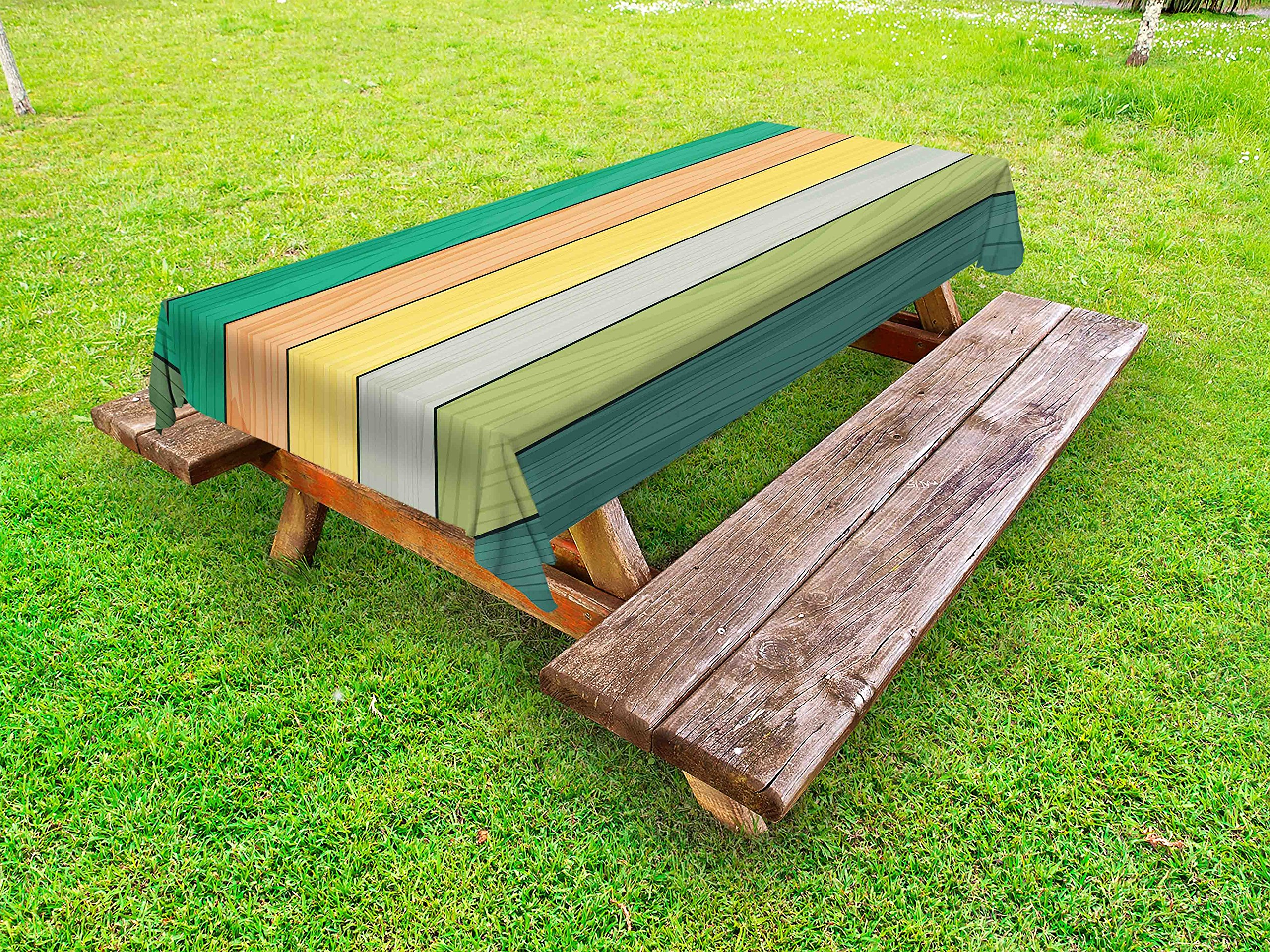 Lunarable Colorful Outdoor Tablecloth, Realistic Wood Texture Pattern on Colorful Stripes Timber Structure Detail Image, Decorative Washable Picnic Table Cloth, 58 X 104 inches, Multicolor