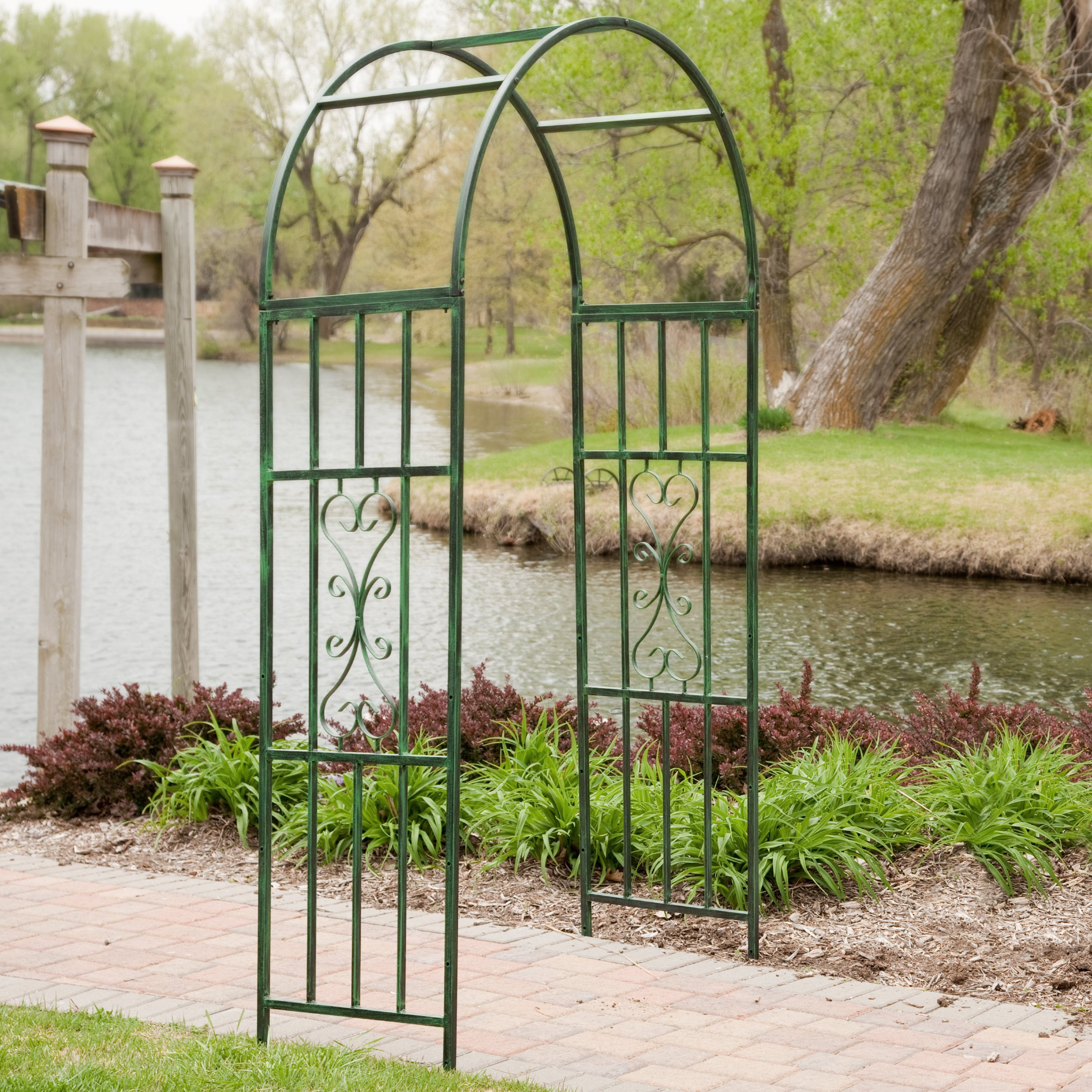 Steel Outdoor Garden Arbor (7-ft.) in Powder Coated Black Verdigris Finish with Intricate Scrollwork Design - Ideal for Climbing Vines and Plants