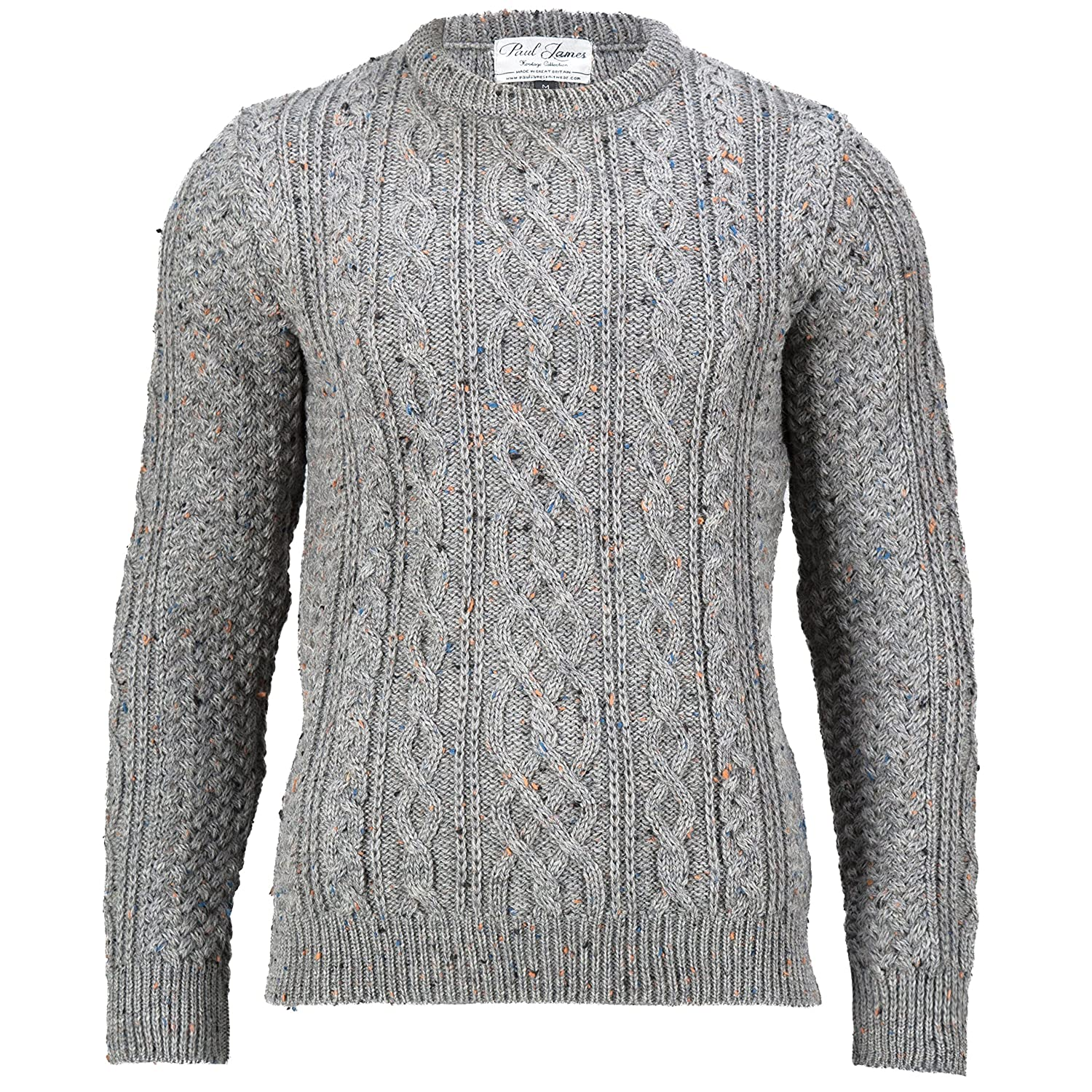591ee0e452e2 Paul James Knitwear Thorpe - Mens 100% British Wool Chunky Aran Jumper:  Amazon.co.uk: Clothing