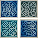 "Amazon Brand – Stone & Beam Medallion Square Stoneware 4-Coaster Set, 4"" x 4"", Blue Multicolor"