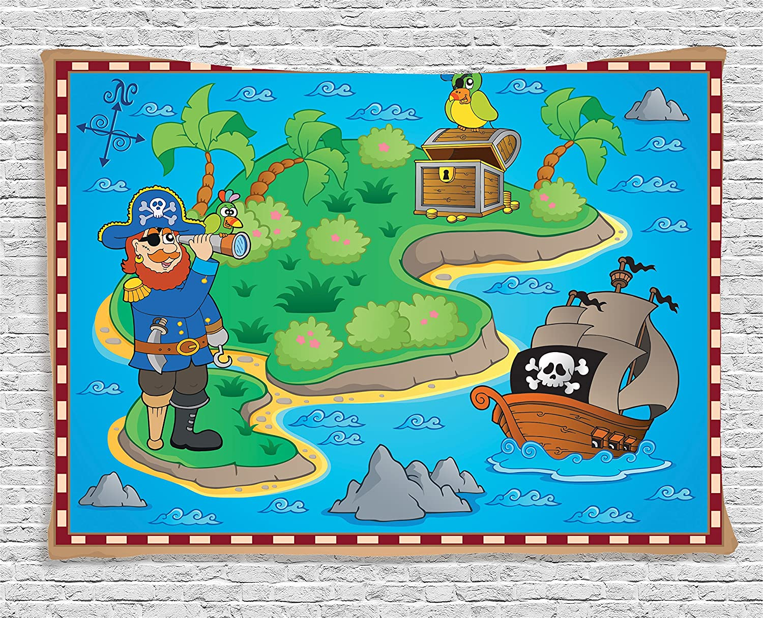 (150cm W By 100cm L, Multi 7) Kids Tapestry Island Map Decor by Ambesonne, Cartoon Pirate and Treasure with Ship and Parrot Fun Play Art Party Theme, Wall Hanging for Bedroom Boys Girls Children Dorm, 60 W X 40 L Inch, Blue Green B01LYPXLA3 60