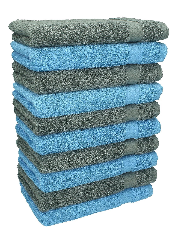 Set di 10 lavette lavetta salvietta da bidet asciugamano da bidet PREMIUM, colore azzurro e grigio antracite, misura 30 x 30 cm Betz