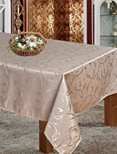 """Luxury Home Collection Polyester Washable Jacquard Rectangular Tablecloth Table Cover- Stain Resistant,Spill-Proof, Wrinkle Free and Waterproof - Taupe, 60"""" x 90"""" Rectangle (6-8 Chairs)"""