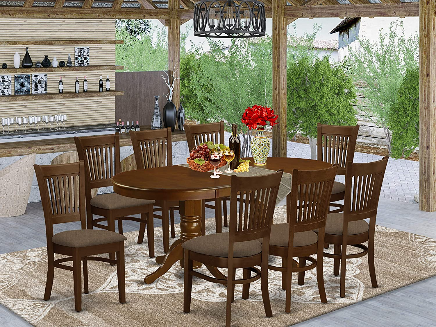 Amazon Com 9 Pc Dining Room Set For 8 Dining Table With Leaf And 8 Dining Chairs Table Chair Sets