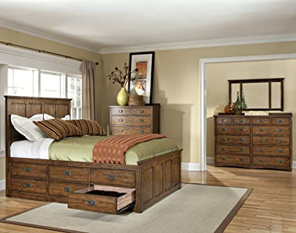Amazon.com: Intercon Oak Park Mission King 6 Drawer Storage Bedroom ...