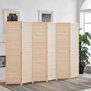 RHF 6 ft.Tall Bamboo Room Dividers, 6 Panel Room Divider/Screen, Folding Privacy Screen Room Divider, Decorative SeparationWall Divider,Room Partitions/Separator/Dividers,Freestanding,Bamboo - 6 Panel