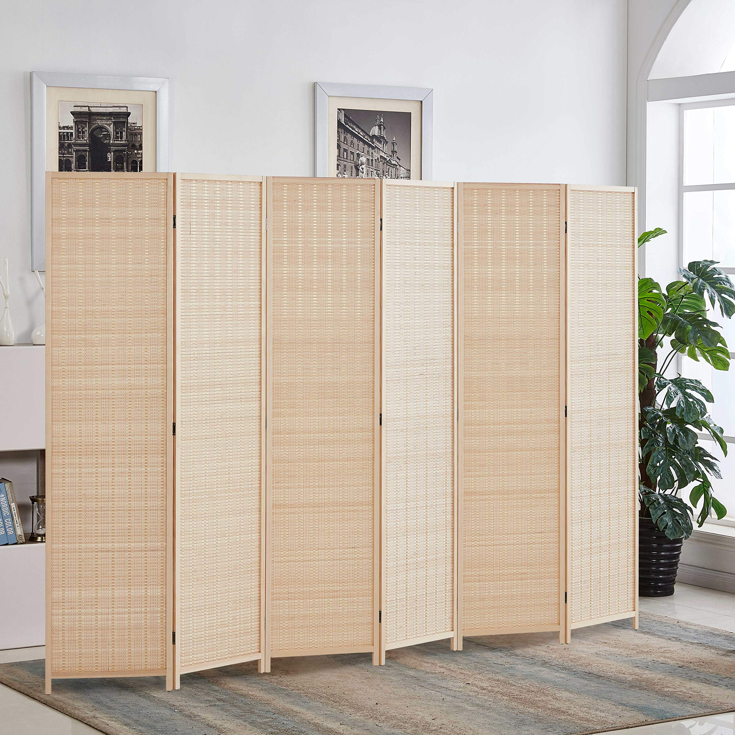 Rose Home Fashion 6 ft. Tall-Extra Wide, Bamboo Room Divider, 6 Panel Room Divider/Screen, Folding Privacy Screen Room Divider, Wall Divider,Room Partitions/Separator/Dividers-Bamboo - 6 Panel by Rose Home Fashion