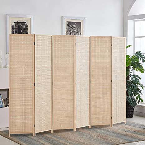 Room Dividers.Rose Home Fashion 6 Ft Tall Extra Wide Bamboo Room Divider 6 Panel Room Divider Screen Folding Privacy Screen Room Divider Wall Divider Room