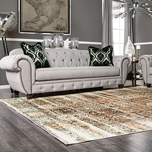 Superior Quality Soft, Plush and Durable 10mm Moisture and Mildew Resistant Waterford Collection Area Rug, 5 x 8 Ivory