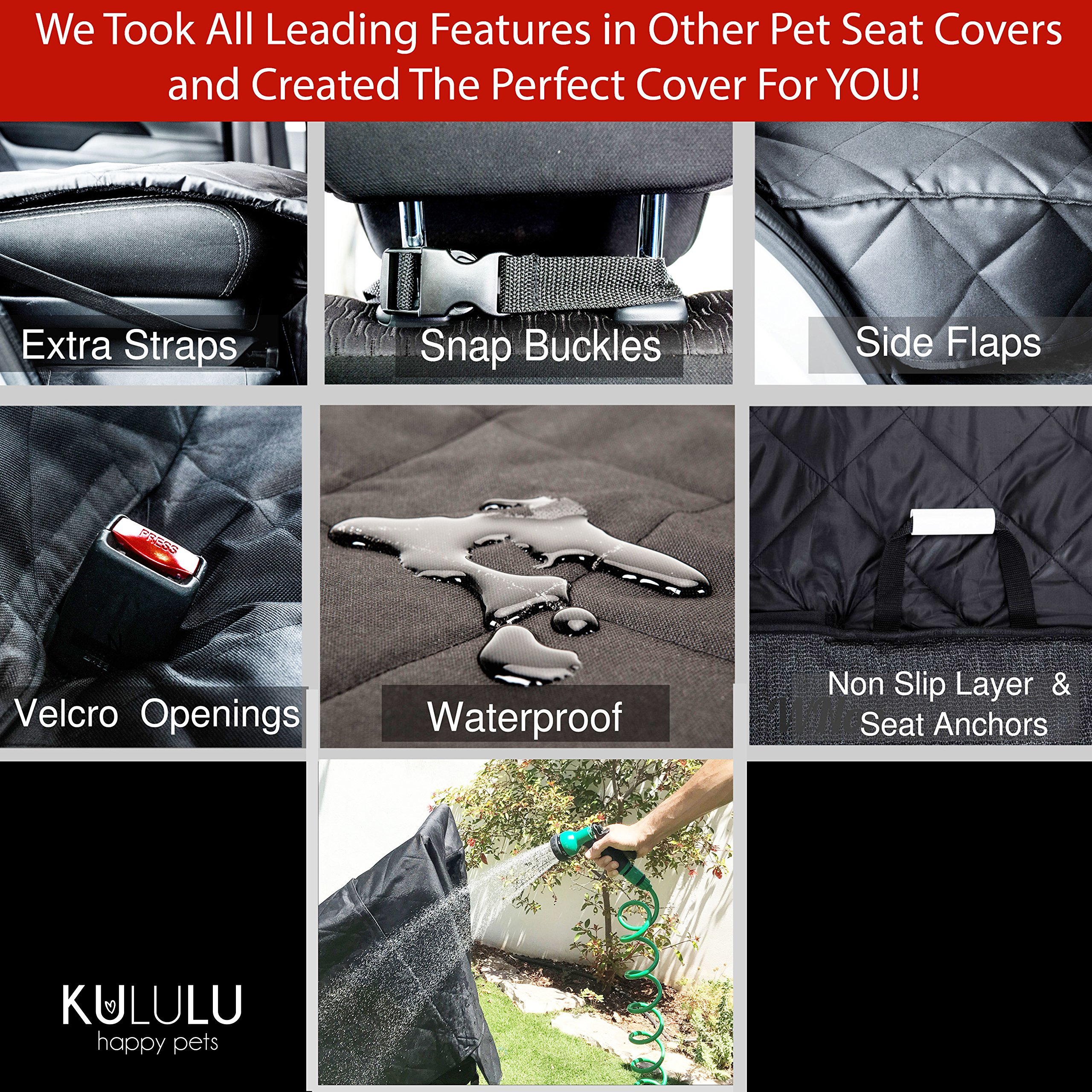 PREMIUM XL Dog Car Seat Cover Hammock Style And Cargo Liner For Cars, Trucks And Suv's. The Original Design You Can See Your Pet & Your Pet Sees You with the ClearView Window- Keeps Your Pet Calm. by Kululu (Image #4)