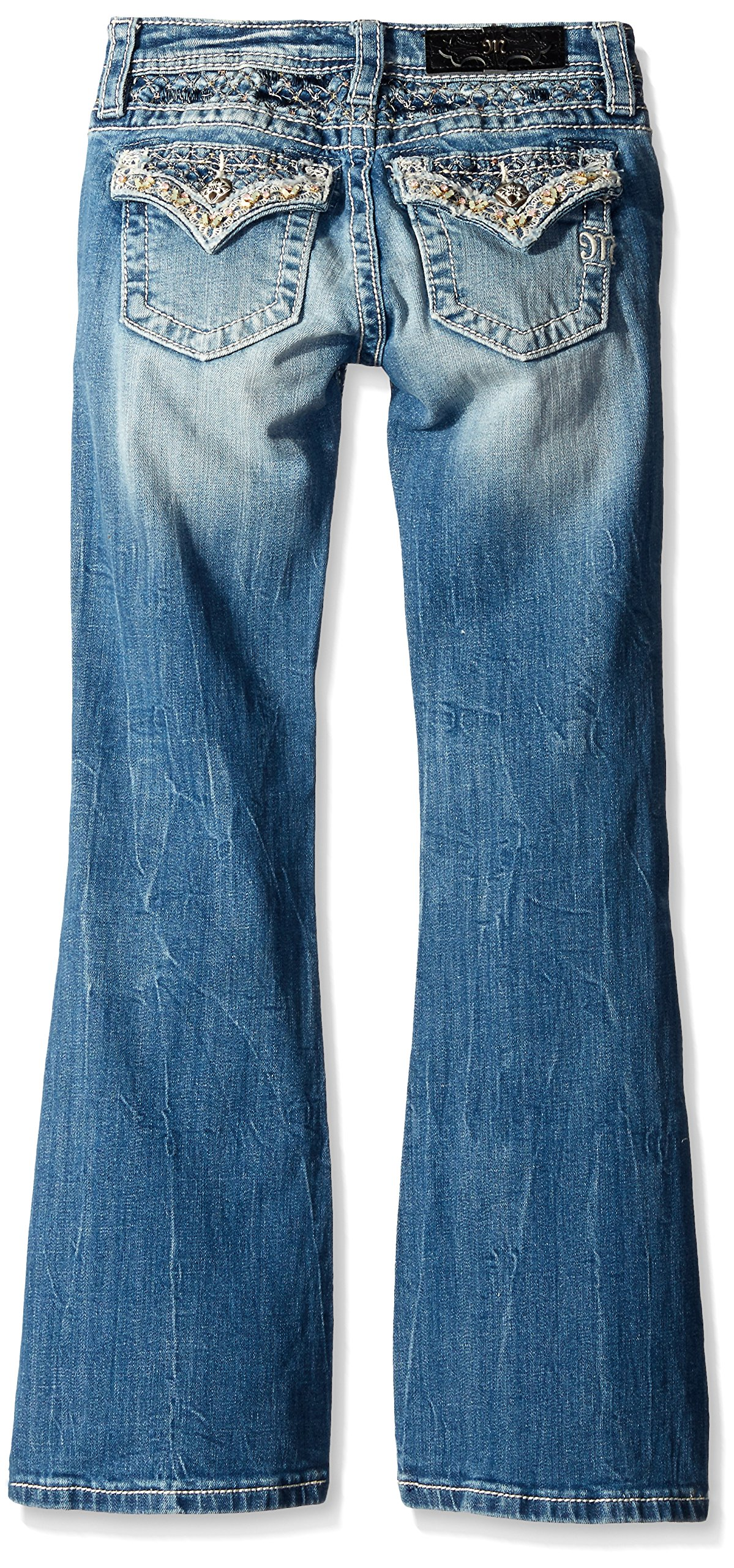 Miss Me Girls' Big Lace Embellished Boot Cut Denim Jean, Medium 10 by Miss Me (Image #2)
