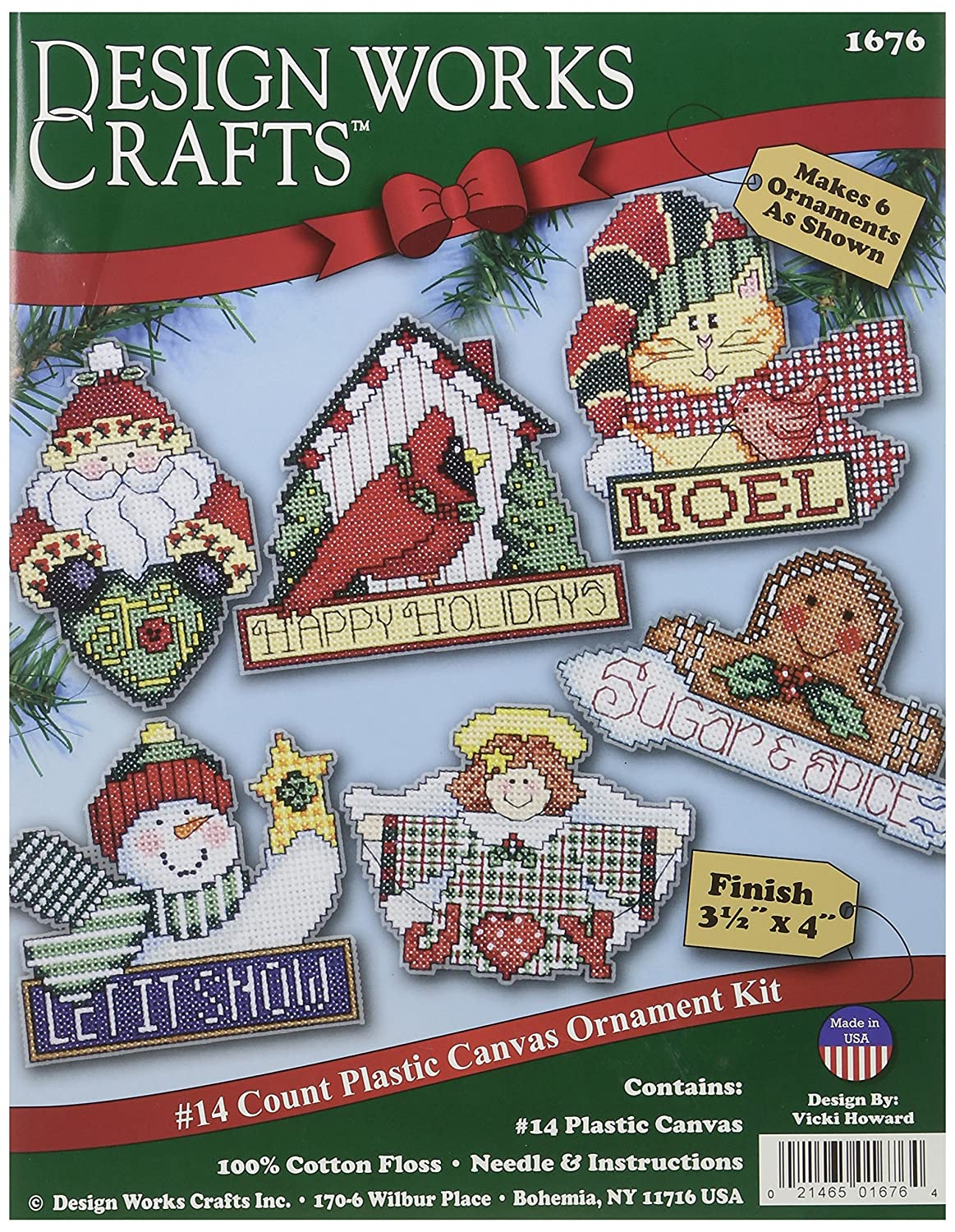 Tobin DW1676 Signs of Christmas Ornaments Counted Cross Stitch Kit, 3-1/2 by 4-Inch, 14 Count