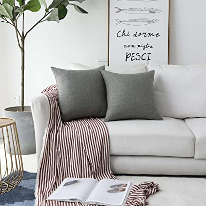 dbb781febc47 Amazon.com: HOME BRILLIANT Faux Linen Gray Burlap Throw Pillow ...
