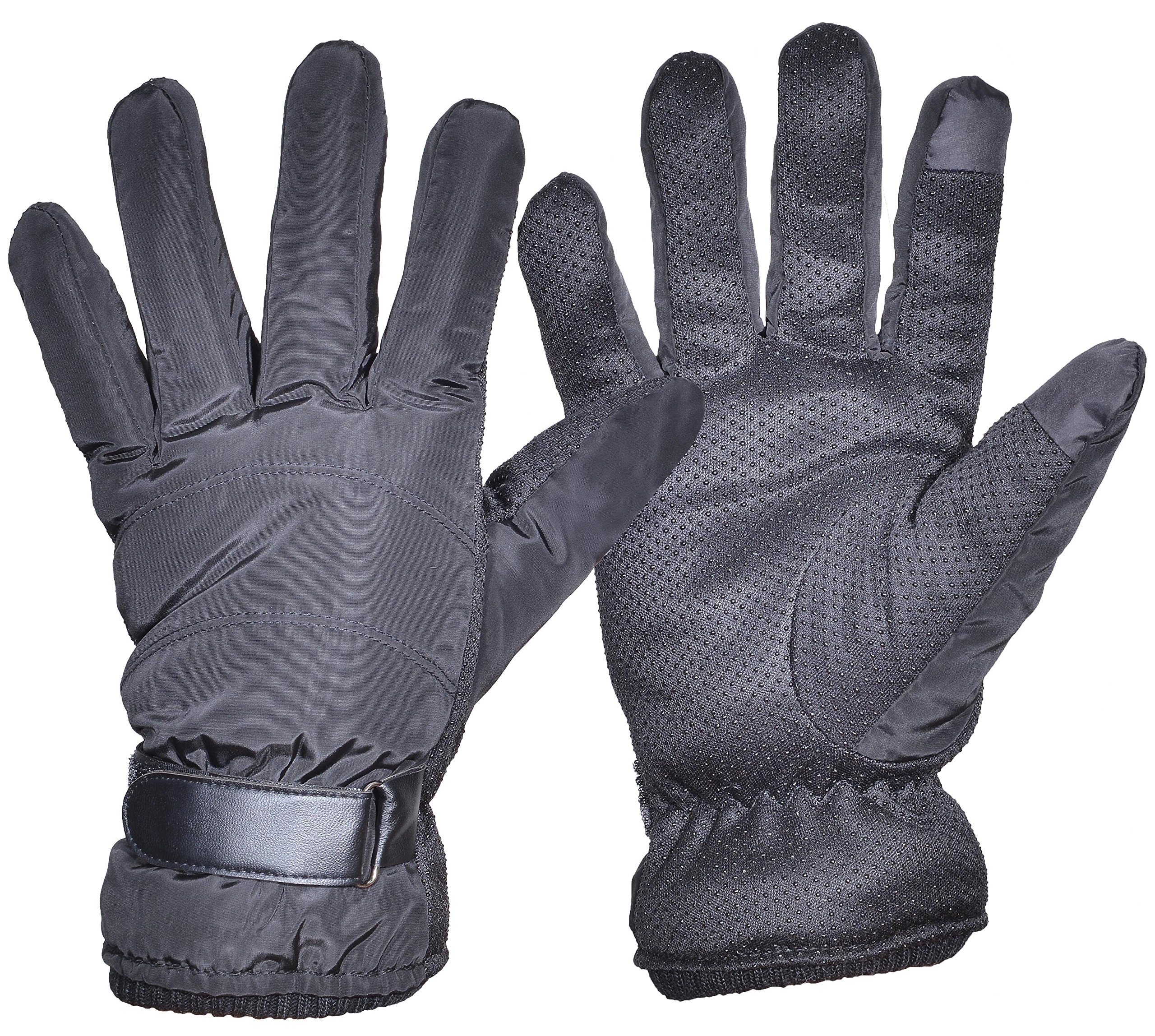 Outrip Men's Driving Gloves Winter Warm Touch Screen Fleece Lined Cycling Gloves (Black)